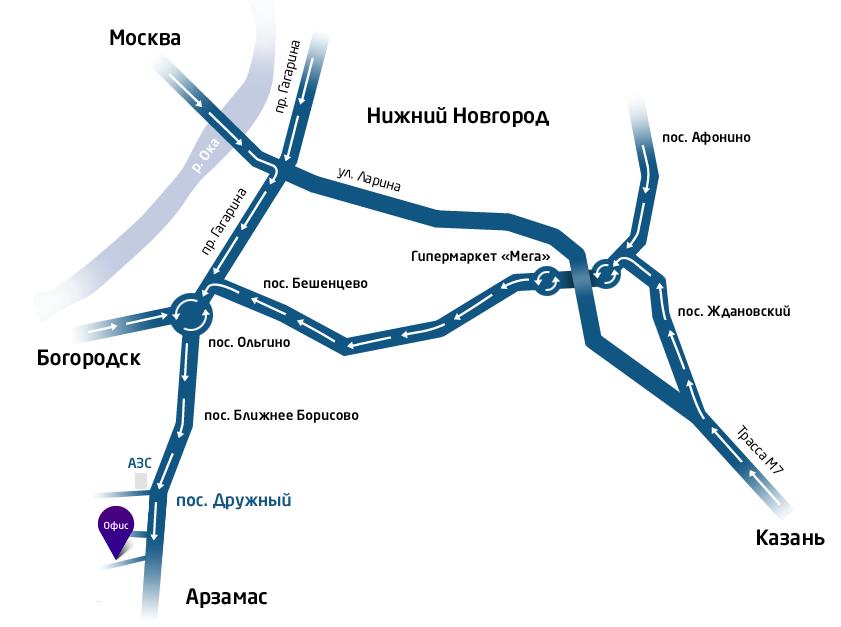 Схема проезда из Нижнего Новгорода и Казанского направления.